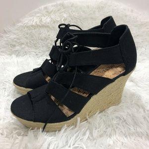 NWT Merona Mazie Lace Up Wedge Heels 7.5 Black